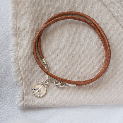Hang Ten Leather Anklet with Peace Tag | Sterling Silver