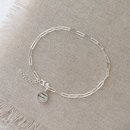 'Endless Summer' Anklet with Birch Tag | Sterling Silver