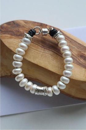 'Luna' Pearl Bracelet | Sterling Silver