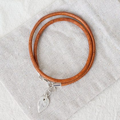 Hang Ten Leather Anklet with Begin Again Tag | Sterling Silver