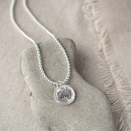 'Love' Beaded Necklace   Sterling Silver