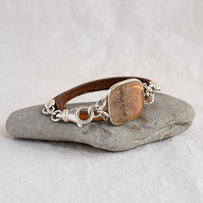 Square Birch Pendant Wrap in English Saddle   Sterling Silver