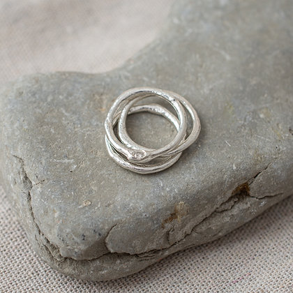 Molten Stacking Ring Trio with Diamond | Sterling Silver