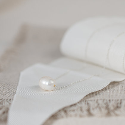 'Luna' Freshwater Pearl Necklace | Sterling Silver