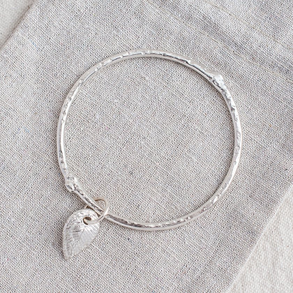 Molten Bangle with Begin Again Tag | Sterling Silver