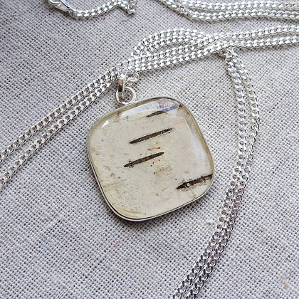 Square Birch Pendant | Canadian Design Handmade Jewelry