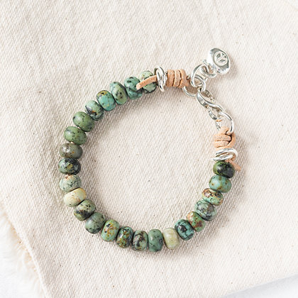'The Palm' African Turquoise Bracelet with Peace Pebble | Sterling Silver
