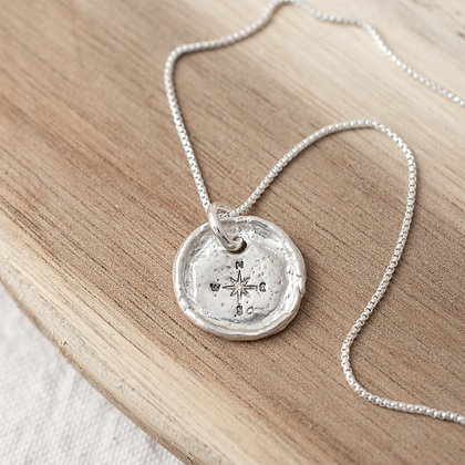 'Get Lost' Compass Tag with Diamond | Sterling Silver