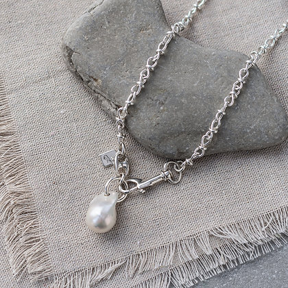 'Luna' Baroque Pearl Chain Necklace | Sterling Silver