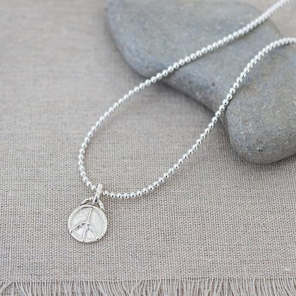 Flower Child Peace Beaded Necklace | Sterling Silver