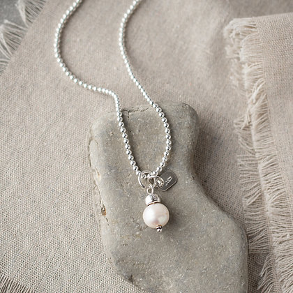 'Luna' Round Pearl Beaded Necklace | Sterling Silver