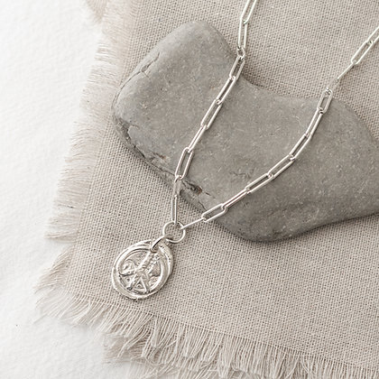 'Peace Love Life' Flower Child Necklace   Sterling Silver