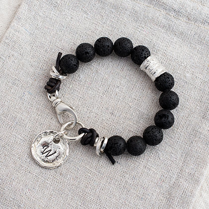 'Courage' Lava Stone Luxe Bracelet | Sterling Silver