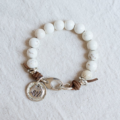 Glossy 'High Tide' White Turquoise Bracelet with Heirloom Charm | Sterling Silv