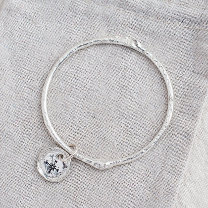 'Get Lost' Molten Bangle with Compass Tag | Sterling Silver