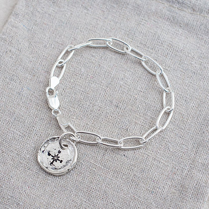 'Get Lost' Compass Tag Bracelet | Sterling Silver