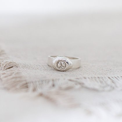 Flower Child Peace Pebble Ring | Sterling Silver