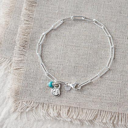 Flower Child Mini Peace Tag Bracelet | Sterling Silver