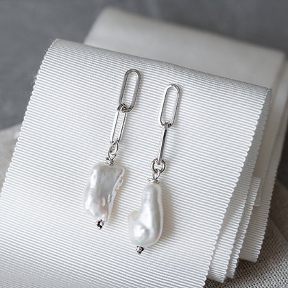 'Luna' Biwa Pearl Long Earrings | Sterling Silver