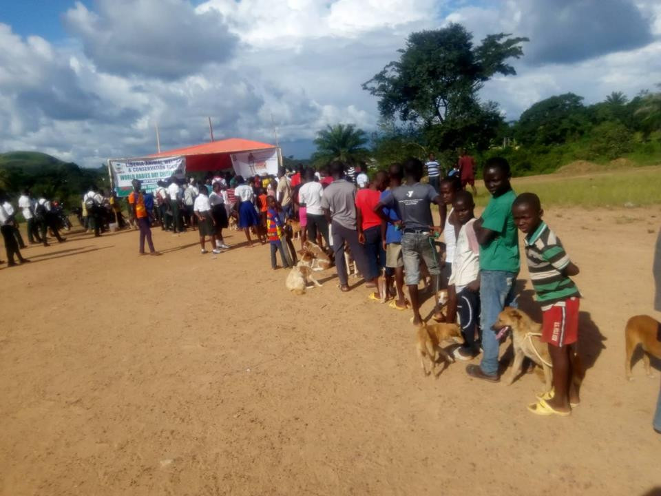 A long line to get rabies vaccination
