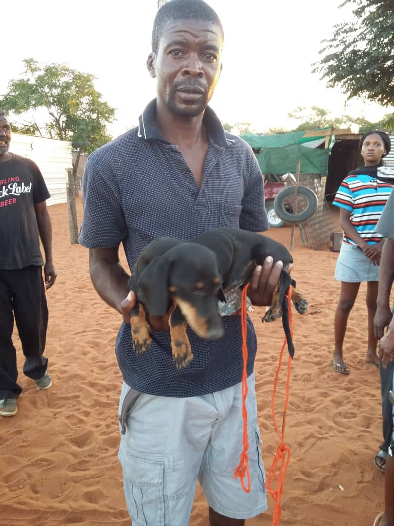Man from Aranos with his now spayed dog-thanks to AKI donors