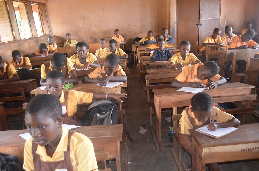 Amrahia students take the end of term HE test