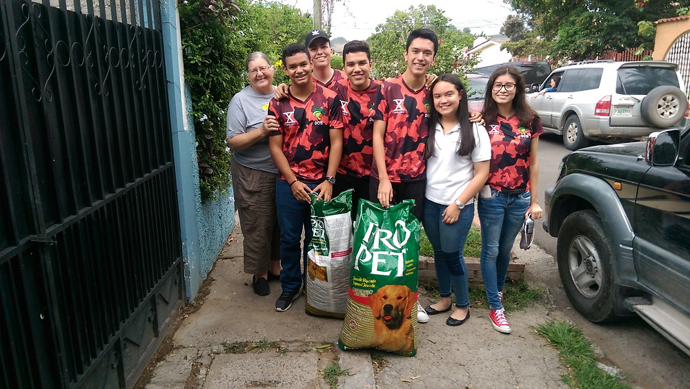 Students volunteered at the sanctuary and donated food