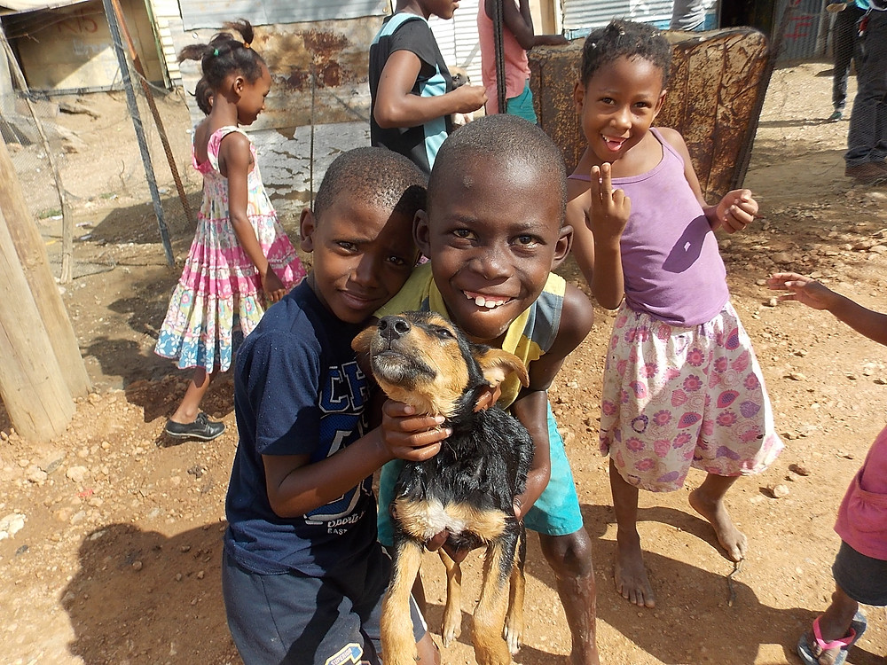 During the April visit to Katutura, some of the kids were very proud of their dogs