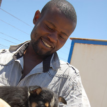 Dog receives shots & parasite treatment