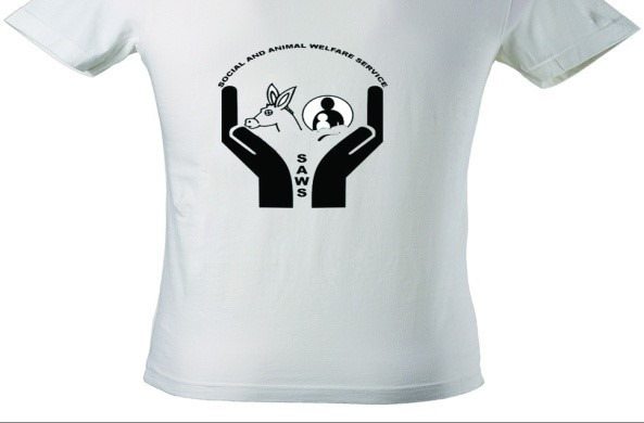 Clinic volunteers received a t shirt with AKI logo on front, SAWS logo on back