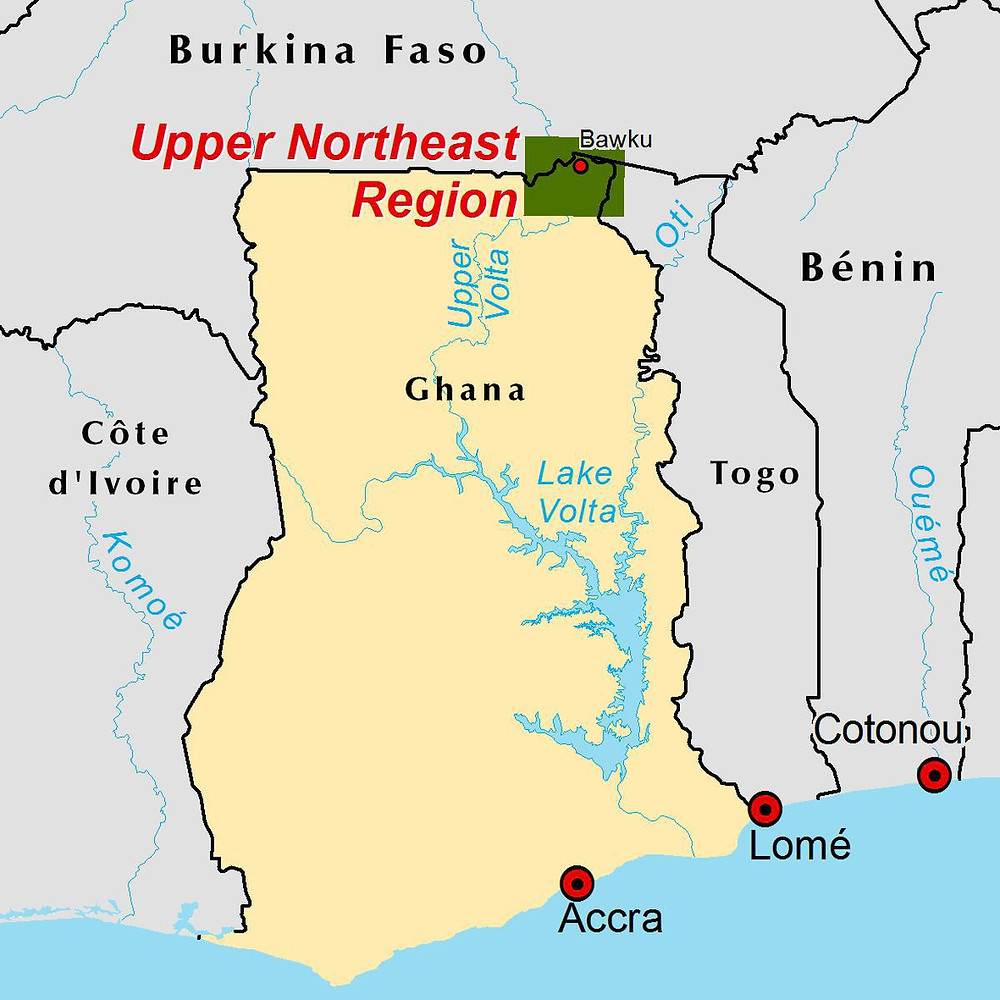 Map of Ghana showing Upper East Region