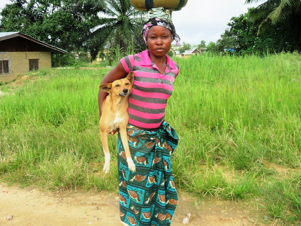 Hawa with her dog, Struggle