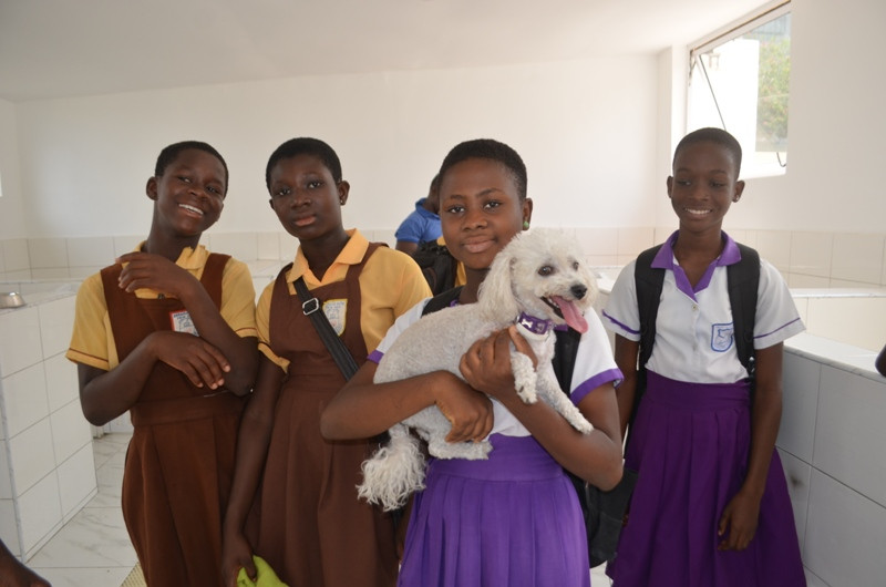 Students hold a dog who was just groomed at Lemla