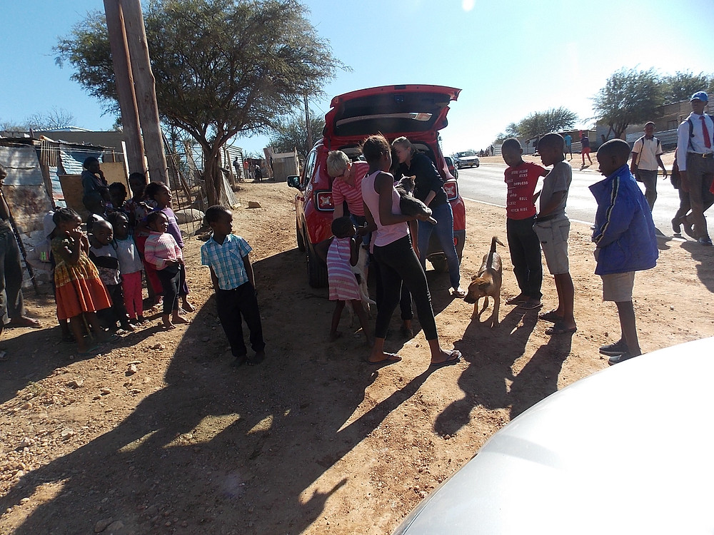 As always, crowds show up for the Katutura Pet Care & Feeding Project