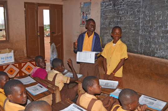James Tetteh (blue jack) Secreatry, Donkey Club co mentees of the Donkey Kindness Club leading the HE lesson .JPG.JPG