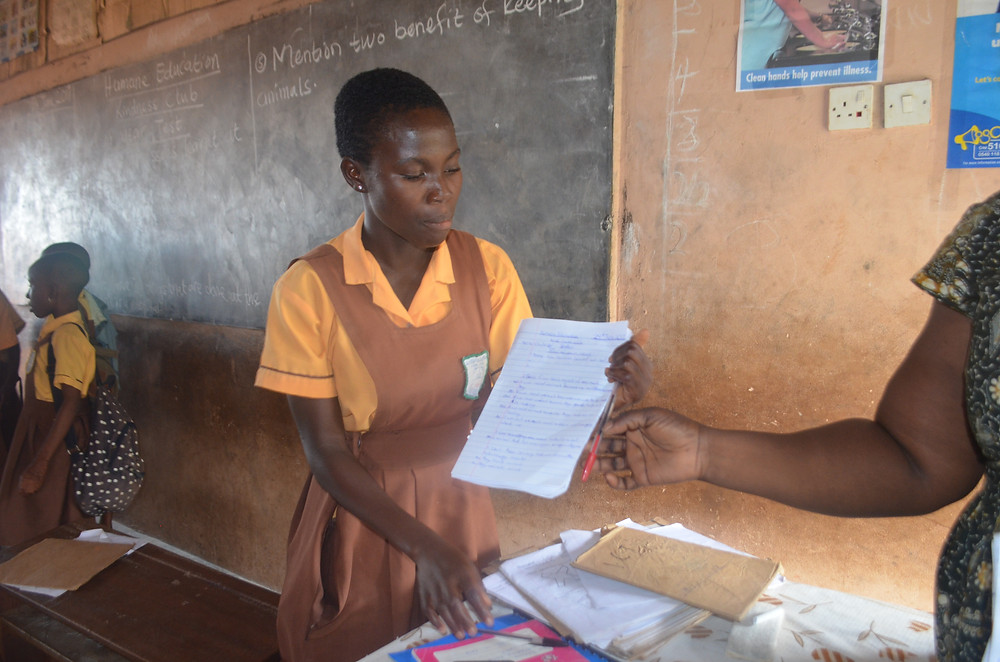 Amrahia HE student turns in her end of term test