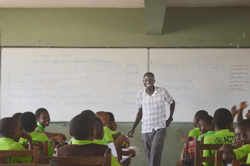 Aluizah leading a lesson at Action Basic School