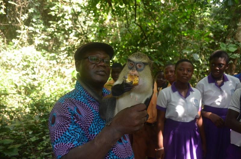 David Nyoagbe, GSPCA Director, with a Tafi Atome Sanctuary monkey