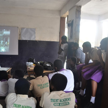 Students watch a video about rabies