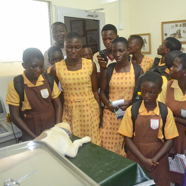 Field trip La Clinic Trust  Academy & Kwabenya JHS Theater, offered lessons on basic practice in surgery  (2).JPG
