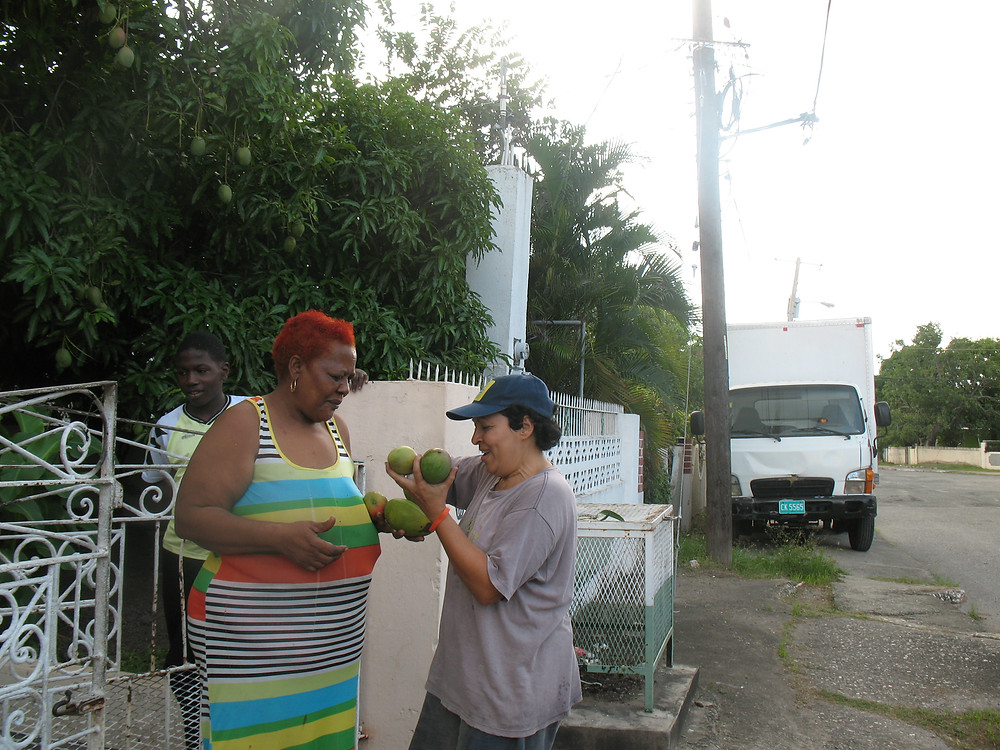 June gives Deborah mangos from her tree