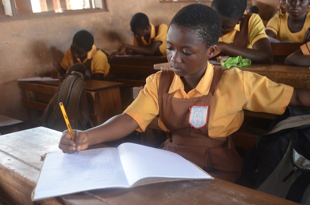 Amrahia Basic School student takes the HE test