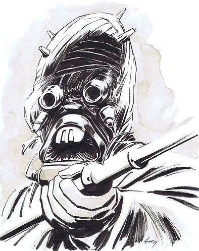 Tusken Raider Watercolor Drawing