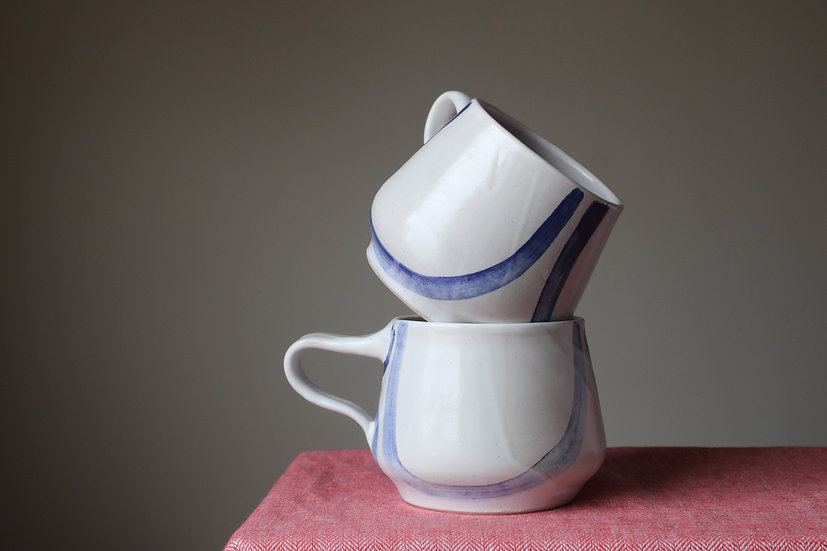 Set of 2 - Cobalt blue brush cauldron mugs