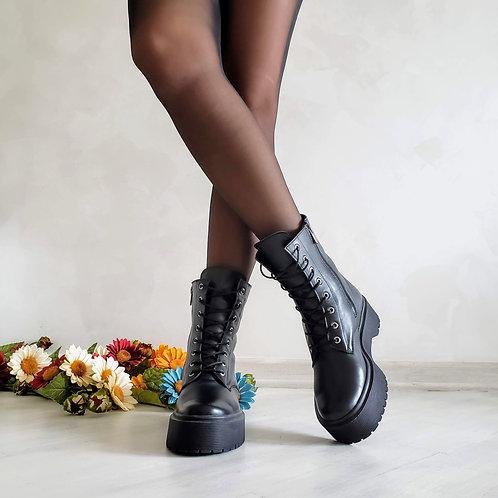Черные женские ботинки на шнурках натуральная кожа фото