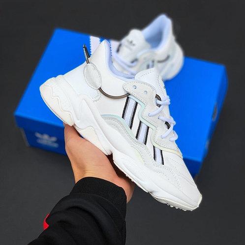 Белые кроссовки Adidas Ozweego White фото