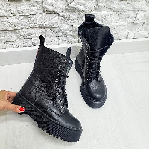 Черные ботинки на шнурках натуральная кожа флотар фото