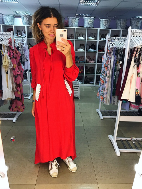Красное платье кафтан в пол ТМ Mandarin   Simona Polagina Интернет-магазин женской  одежды, обуви и аксессуаров 3062b54d5c5