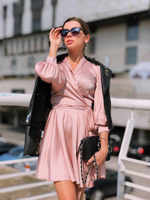 короткое шелковое платье с длинным рукавом фото
