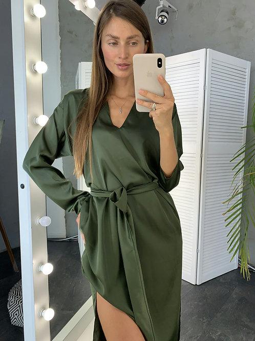 Лаконичное шелковое платье миди с поясом фото
